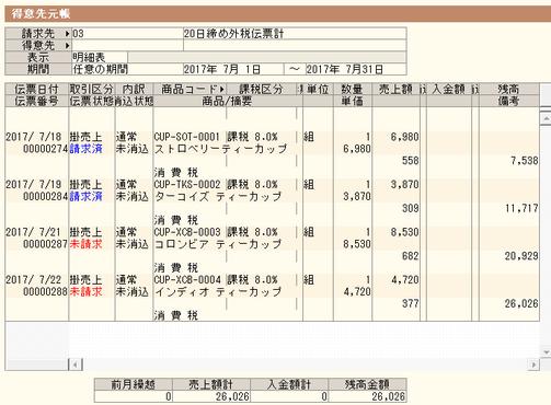 弥生販売の得意先元帳(外税伝票計)
