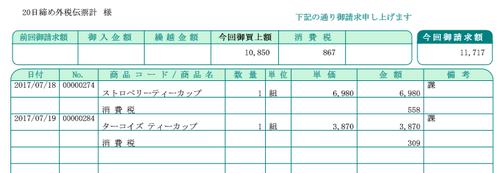 弥生販売の請求書(外税伝票計)